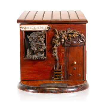 Lodge Furnishings  barware, cigar boxes, smoking, tobacco  Figural Cigar Box