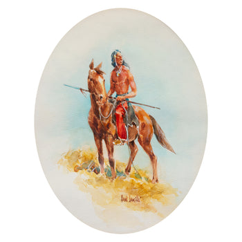 Fine Art  hank lawshe, paintings - native, sale item  Indian on Horseback with Lance by Hank Lawshe