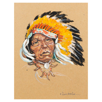 Fine Art  elizabeth lochrie, fine art: painting: native american, oil paintings, paintings - native, sale item  Native Man with Headdress and Bear Claw Necklace by Elizabeth Lochrie