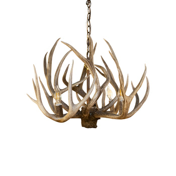 Lodge Furnishings  antler lighting, ceiling lights, chandeliers, lighting, mule deer, new item  Mule Deer Chandelier