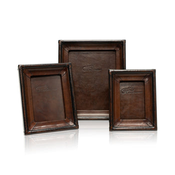 Lodge Furnishings  décor, leather, picture frames, rancher's collection  Dark Brown & Black Leather Tabletop Picture Frame - The Dressage