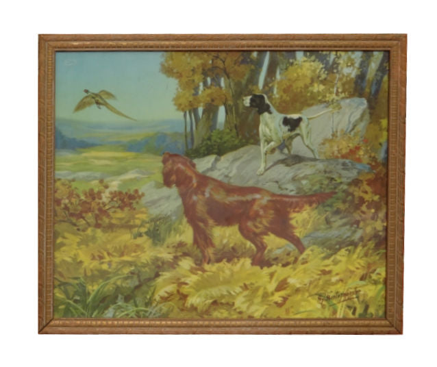 Irish Setter and Pointer by Henry Hintermeister pheasants, sporting advertising