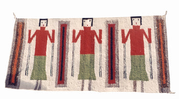 American Indian  1' to 4', navajo, weavings, yeis  Navajo Three Figure Yei