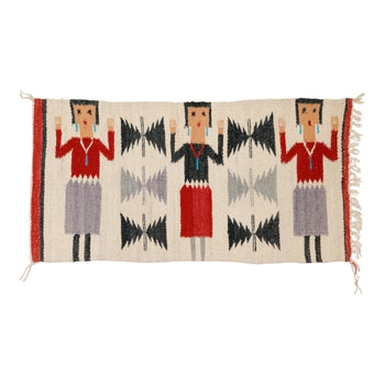 American Indian  1' to 4', weavings, yeis  Three Figure Yei Weaving
