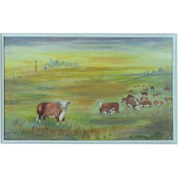 Fine Art  cows, fine art: painting: western, herefords, oil, paintings, paintings-western, primative, sale item, texas  Herefords