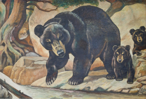 Adirondack Style Bears adirondack, bears, oil paintings, paintings-wildlife
