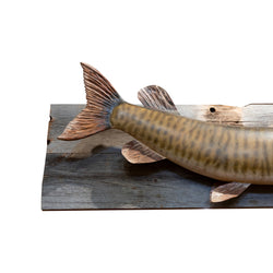 Carved and Painted Muskie Mount