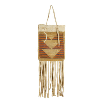 American Indian  baskets, cornhusks, nez perce  Nez Perce Corn Husk  Bag with Elk Hide Fringe