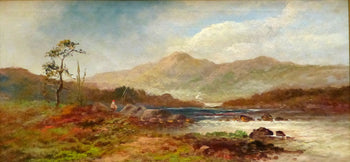 Fine Art  lucien powell, oil, paintings, paintings-fishing  Trout Fisherman attributed to Lucien Powell