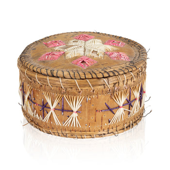 American Indian  baskets, birch bark, boxes, chippewa, new item, quills, sale item  Quilled Birch Bark Box