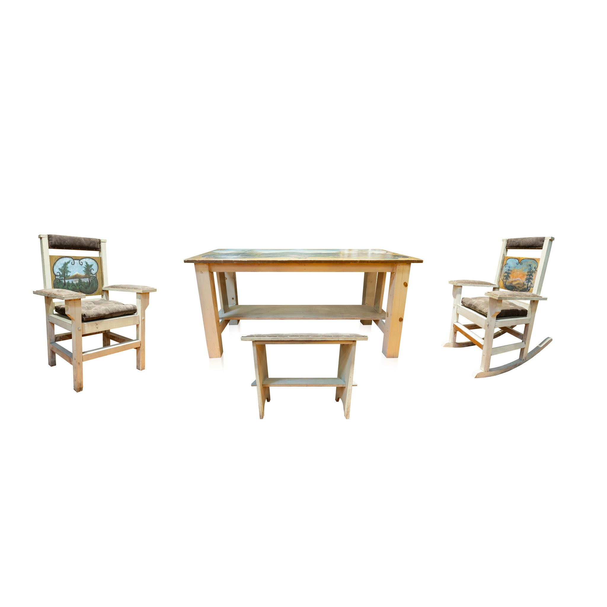 Dining Set with Painted Mountain Scene benches, chairs, dining sets, lodge furnishings: furniture: dinning table, sale item, seating, tables