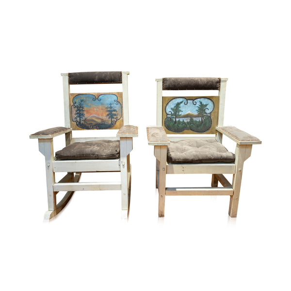 Dining Set with Painted Mountain Scene