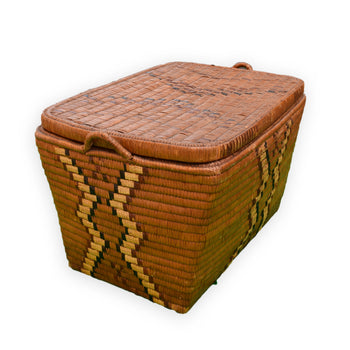 American Indian  baskets, lidded baskets, salish  Salish Lidded Basketry Storage Trunk