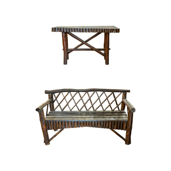 Lodge Furnishings  adirondack, benches, new item, porch benches, seating, side tables  Adirondack Porch Bench and Side Table