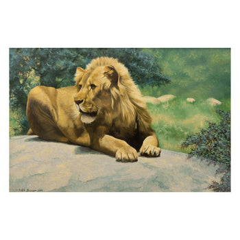 Fine Art  lions, new item, oil paintings, paintings - wildlife, peter darro  It's Good to be King by Peter Darro