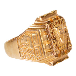 Gold Ring with Aztec Design