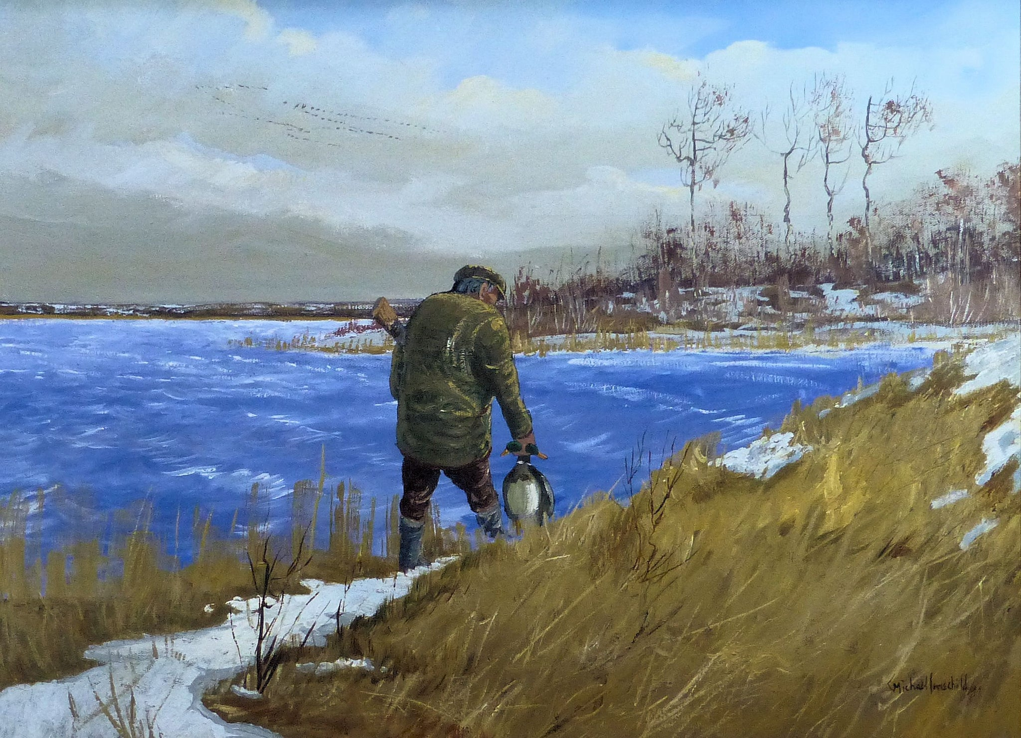 Hunting Ducks Around First Snowfall by Michael Lonechild acrylic, fine art: painting: sporting, michael lonechild, paintings, paintings-hunting
