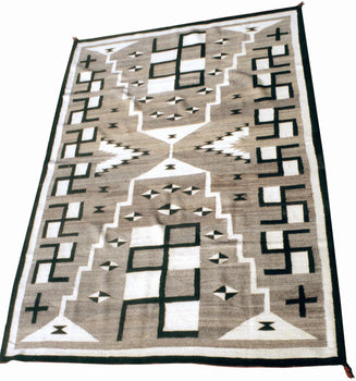 American Indian  6' to 8', naturals, navajo, rugs, storms, weavings  Navajo Natural Storm with crosses