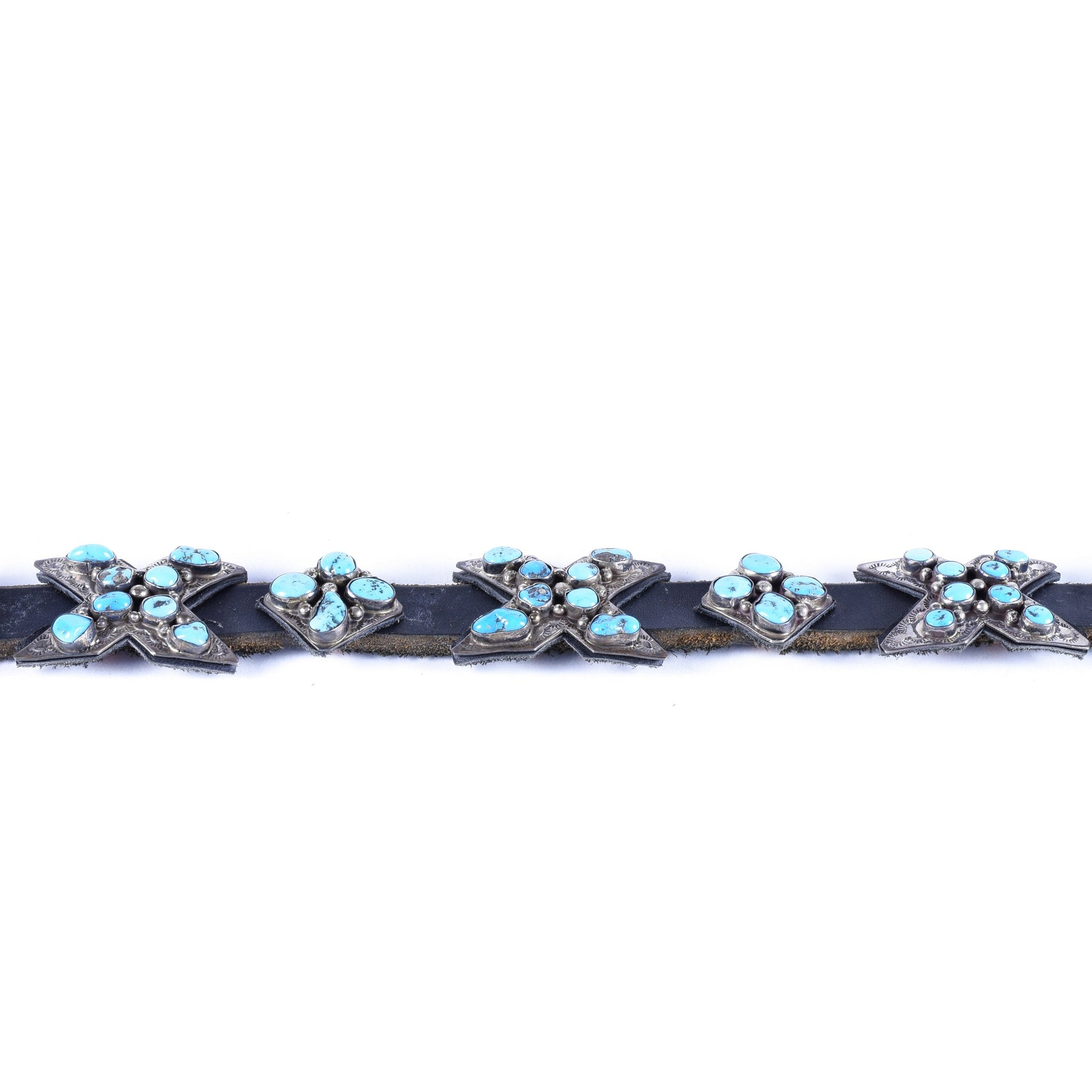 "Navajo Concho Belt with ""X's"" belts, navajo, southwest, turquoise"