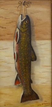 Fine Art  fish, oil, paintings, paintings-wildlife, trout, w.l. steward  Hanging Trout by W.L. Steward
