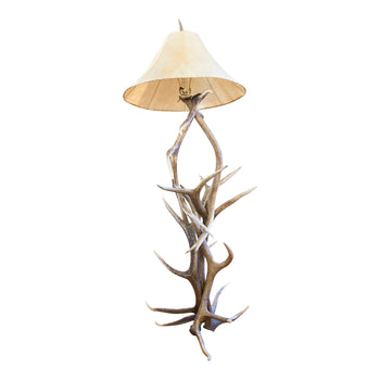 Lodge Furnishings  antler lighting, elk, floor lamps, horns, lamps, lighting, lodge furnishings: lighting: floor lamp  Elk Floor Lamp with Rawhide Shade