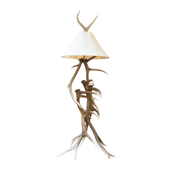 Lodge Furnishings  antler, lighting  Elk Floor Lamp with Rawhide Shade