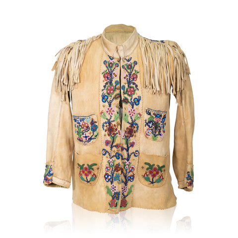 Cree Elk Hide Jacket beadwork, cree, jacket, shirts