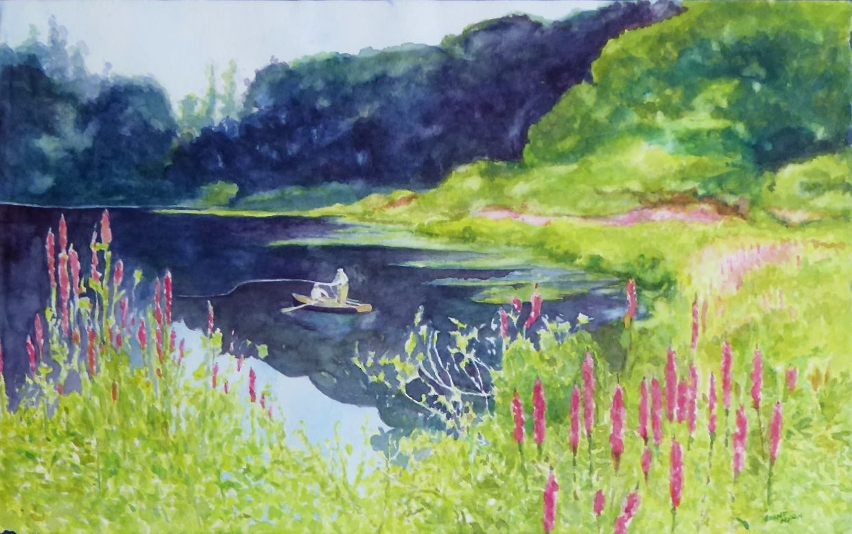 Fly Fishing For Bass by Grant Nixon fine art: painting: sporting, grant nixon, paintings, paintings-fishing, watercolor