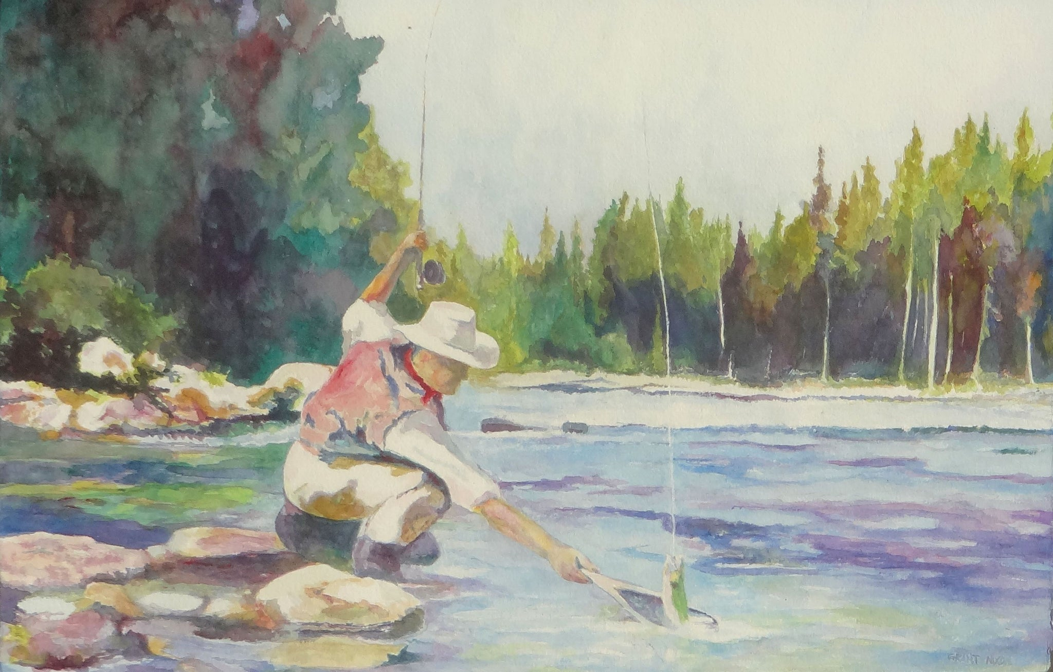 Fishing on the Moyie by Grant Nixon fine art: painting: sporting, grant nixon, paintings, paintings-fishing, watercolor