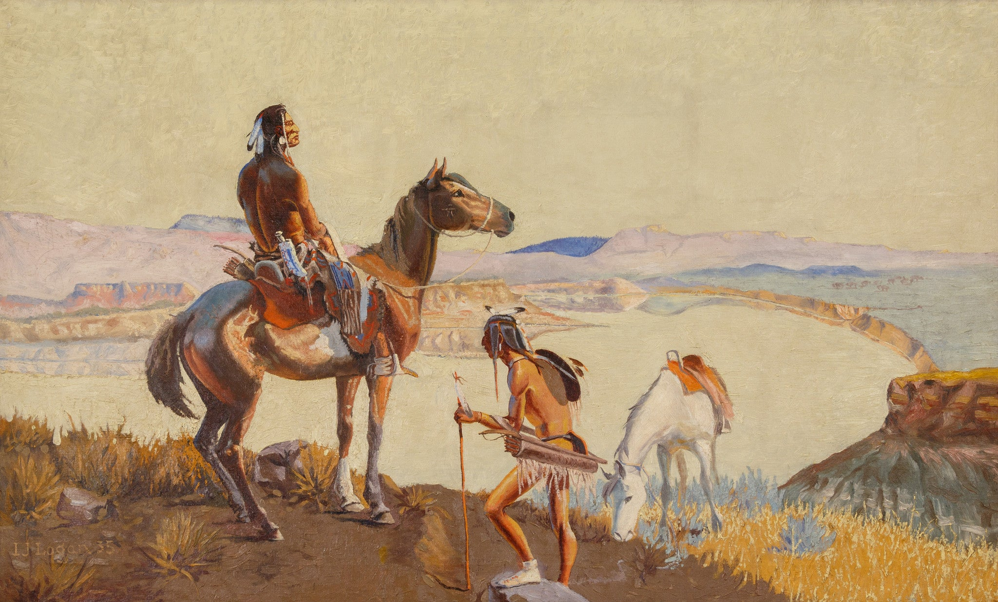 The Scout by J.L. Logan l. j. logan, oil paintings, paintings-native
