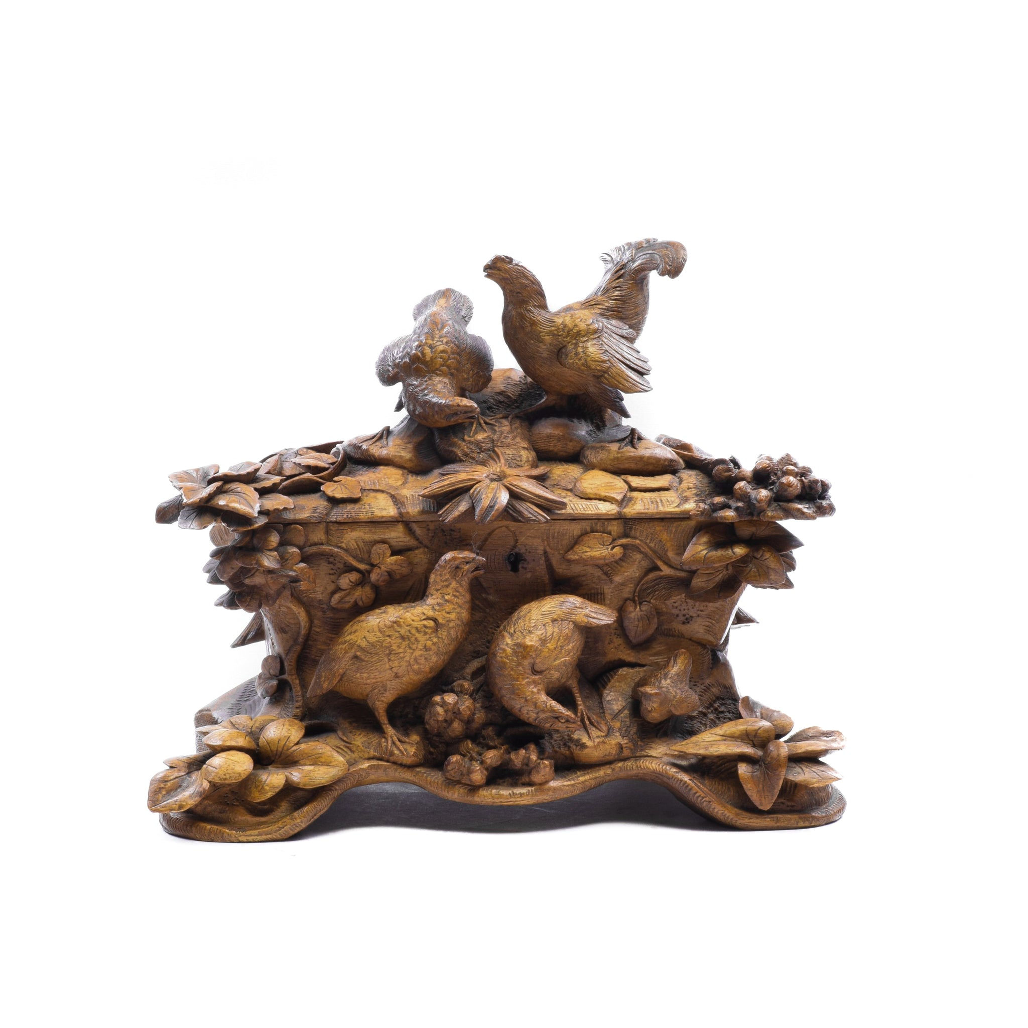 Four Game Birds and a Chick swiss carvings