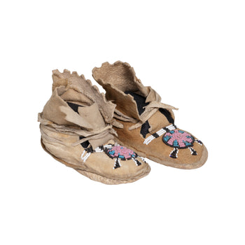American Indian  beadwork, child's moccasins, moccasins, ute  Ute Child's Moccasins