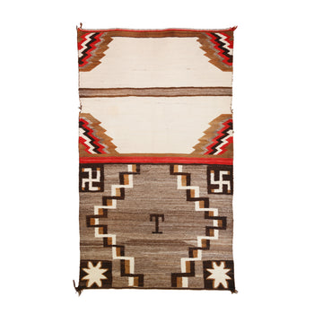 American Indian  4' to 6', double saddles, navajo, pictorials, weavings, whirling logs  Two Panel Double Saddle Blanket