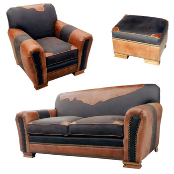 Lodge Furnishings  chairs, couches, kennedy collection, leather, lodge furnishings: furniture: living room chair, ottomans, seating  Kennedy Collection Antique Leather Furniture Set