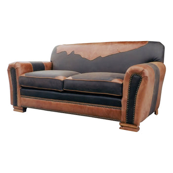 Lodge Furnishings  couches, kennedy collection, leather, lodge furnishings: furniture: couche, seating  Kennedy Collection Antique Leather Sitting Room Couch