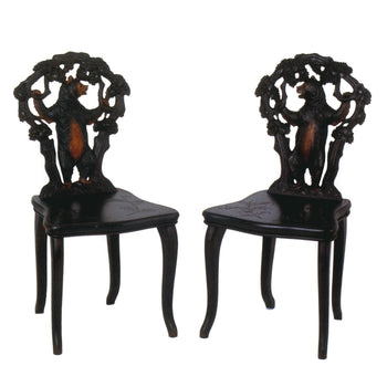 Special Collections  bears, black forest, brienz collection, chairs, seating, swiss carvings  Pair of Black Forest Carved Chairs