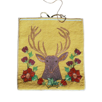 American Indian  beadwork, deer, flat bag, northwest, yakama  Yakama Stag Flat Bag