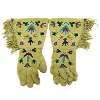American Indian  beadwork, gauntlets, horse gear, pictorial  Plateau Gauntlets