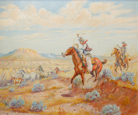 Cowboys and Mustangs by Robert Griffen oil paintings, paintings-western, robert griffen