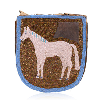 American Indian  beadwork, belt pouch, horses-native american, northwest, pictorials, plateau  Plateau Belt Pouch With Horse