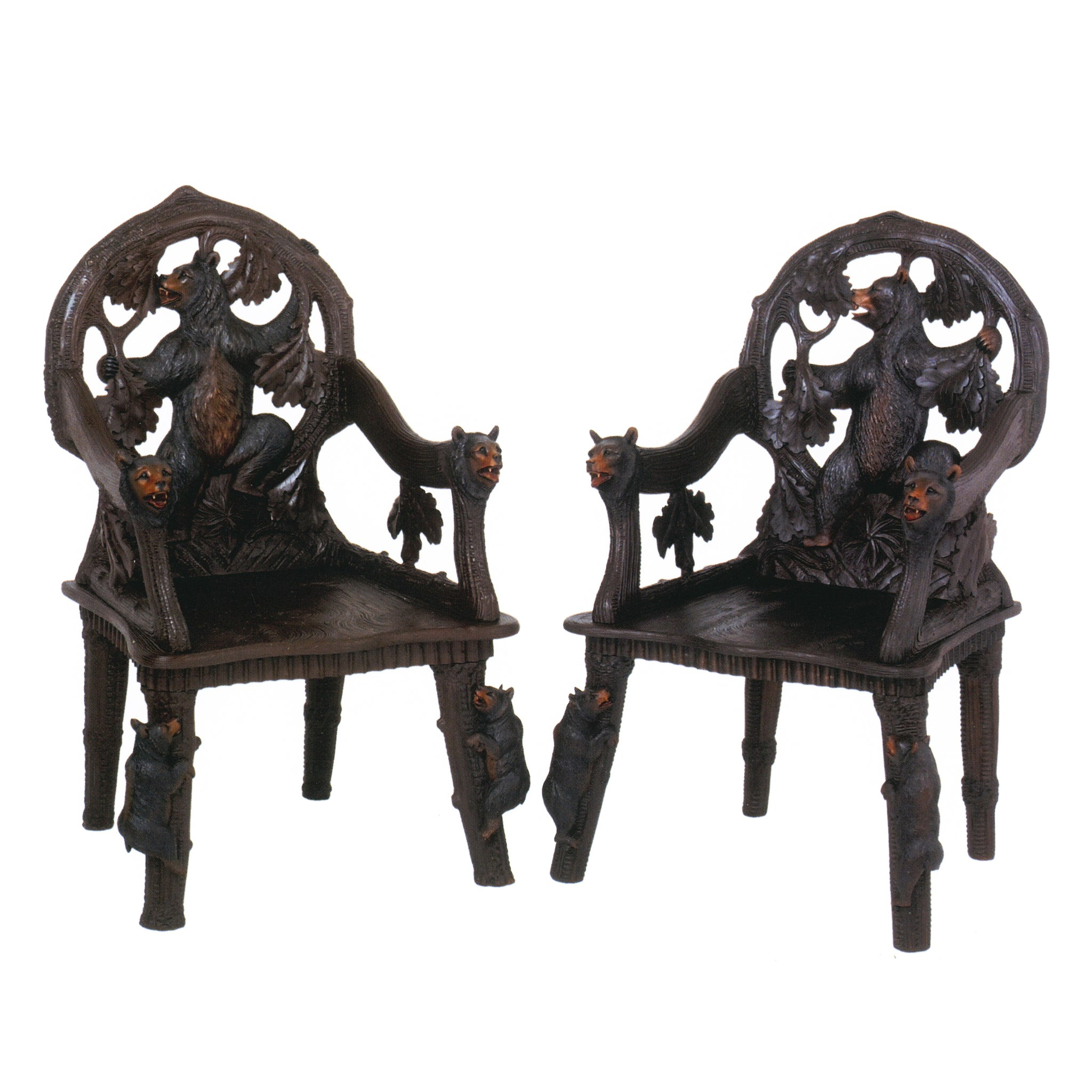 Two Bears Chairs swiss carvings
