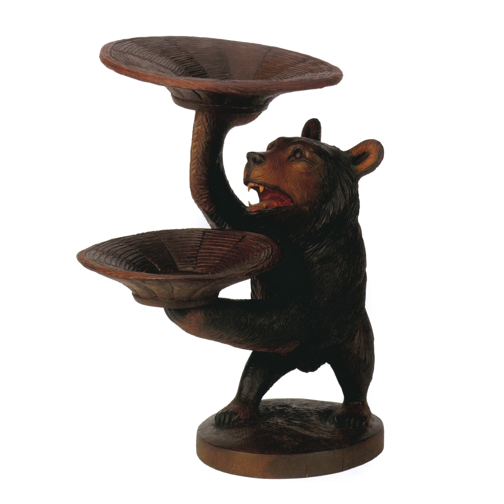 Carved Bear Holding Bowls bears, brienz collection, swiss carvings