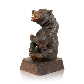 Special Collections  barware, bears, brienz collection, carvings, humidor, new item, smoking  Black Forest Seated Bear Humidor
