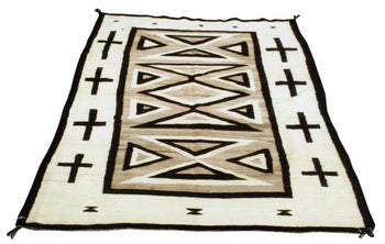 American Indian  4' to 6', naturals, navajo, weavings  Navajo with Crosses and Hourglasses
