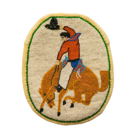 Beaded Flat Bag with Bucking Bronco beadwork, flat bag, northwest, pictorial, plateau