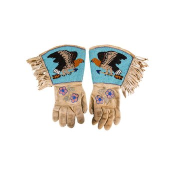American Indian  beadwork, gauntlets, nez perce  Nez Perce Pictorial Gauntlets