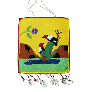 American Indian  beadwork, flat bag, northwest, pictorials, plateau, woodpeckers  Plateau Woodpecker Flat Bag