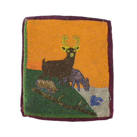 Flat Bag with Deer Pictorial deer, flat bag; beadwork; pictorial