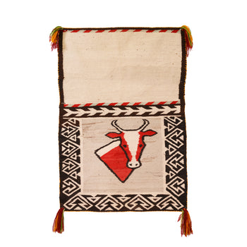 American Indian  4' to 6', double saddles, navajo, pictorials, steers, weavings  Navajo Pictorial Double Saddle Blanket