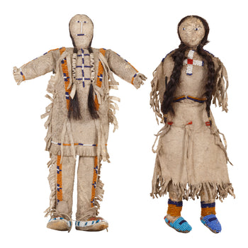 American Indian  beadwork, dolls, sioux  Matched Pair of Sioux Dolls